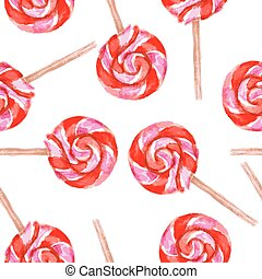 Watercolor tasty lolipop in vintage style, vector seamless...