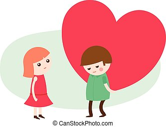 Young man giving a heart to his sweetheart - Vector cartoon...