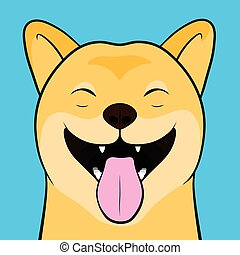 Laughing Cartooned Face of a Shiba Inu Dog - Close up Funny...