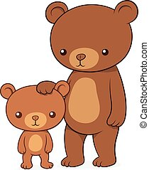 Brown bear with her cute little cub teddy standing upright...