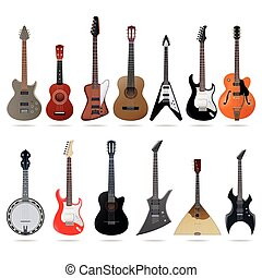 Acoustic and electric guitars set - Set of different...