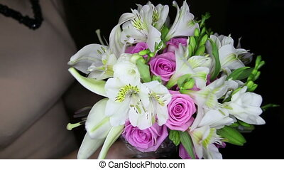 bouquet with white lilies and pink roses - wedding bouquet...