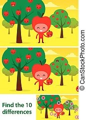 Kids puzzle printable with cute apples in orchard