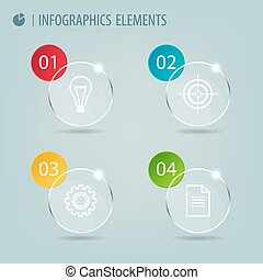 Glass infographic elements with icons