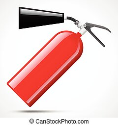 red fire extinguisher - Isolated red fire extinguisher on...