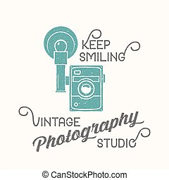 Vintage Camera Photography Studio Vector Label, Card or a Logo Template with Retro Typography and Texture