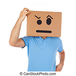 Man with cardboard box on his head isolated on white...