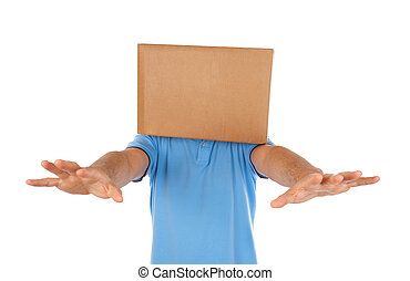 Man blinded by the box to put on his head on white...