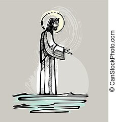 Jesus walking on the water - Hand drawn vector illustration...