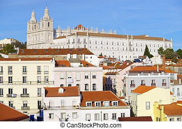 Alfama downtown and Monastery os S. Vicente de Fora in...