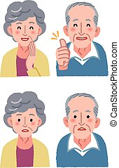 Sinior couple expression - Elderly couple facial expression...