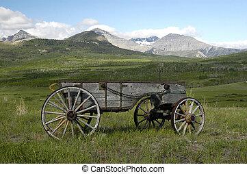 pionieri, legno, carro