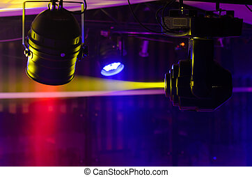 Stage Fresnel lights and reflector spotlight