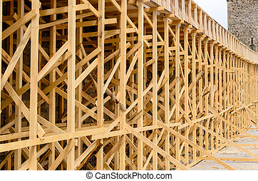 Wooden Scaffolding on Exterior of Building - Architectural...