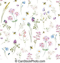 Watercolor wildflower pattern - Beautiful vector pattern...