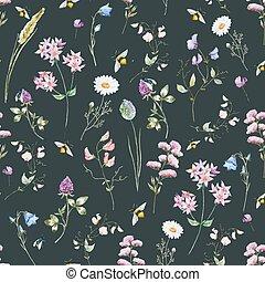 Watercolor wildflower pattern - Beautiful vector pattern...