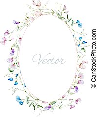 Watercolor floral frame - Beautiful vector frame with nice...