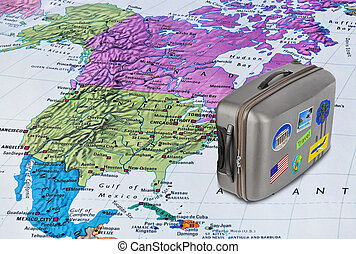 America map and travel case with stickers (my photos)