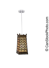 Hanging lamp. - Wooden hanging lamp isolated on white...
