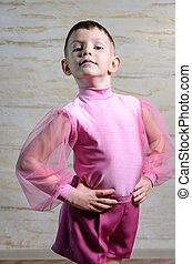 Boy Wearing Pink Dance Outfit Posing in Studio