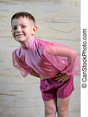 Boy Wearing Dance Outfit Bowing with Hands on Hips