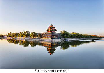 moat and watchtower of imperial palace in Beijign, china