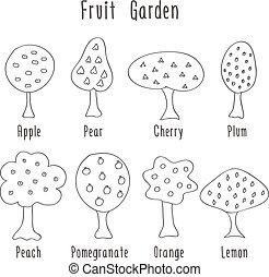 Garden fruit trees - Garden fruit doodle trees. Black and...