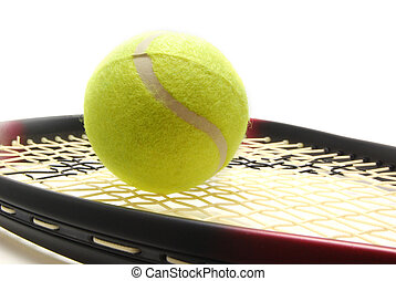 Tenis ball and racquet - Tennis ball and racquet on white...