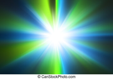 Abstract light blue and green radial zoom background