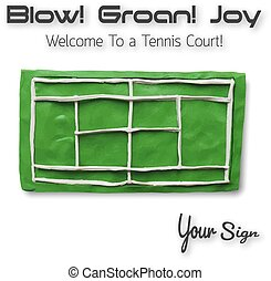 Top view of tennis court Vector illustration Plasticine...