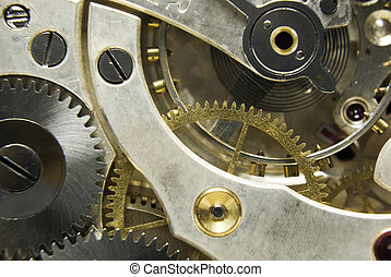 Pocket watch mechanism - An extreme close up shot of the...