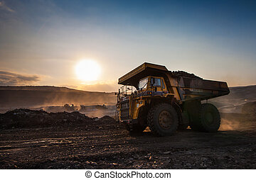 coal-preparation plant Big yellow mining truck at work site...