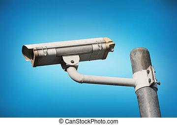青,  CCTV, カメラ, 背景, セキュリティー, ∥あるいは∥