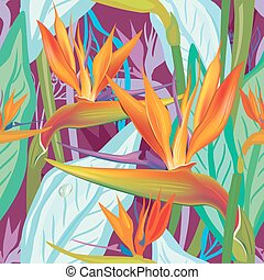 Seamless floral pattern with Strelitzia