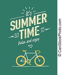 summer time typography poster with flat retro bicycle