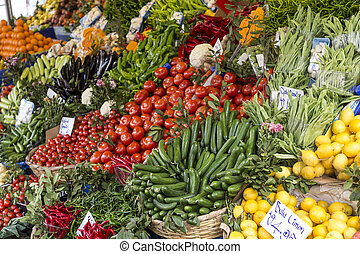 Greengrocery - Vegetables and fruits displayed at a...