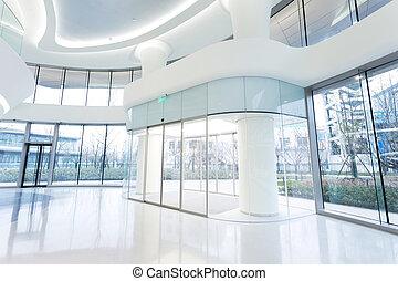 futuristic modern office building interior in urban city