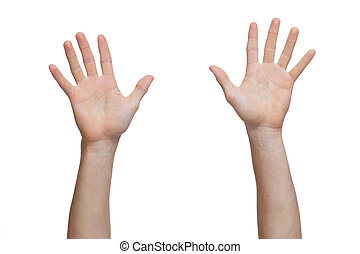 deux, mains, élevé, haut,