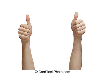 Two hands thumbs up - Human hands showing sign of okay