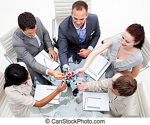 Business team examining molecules in the office. Medical and...