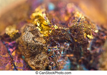 Chalcopyrite, It has the chemical formula (CuFeS2). Copper...