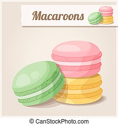 Detailed Icon. Macaroons. Cartoon food vector illustration
