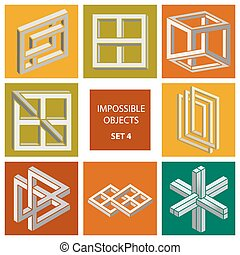 Impossible objects. Set 4. Cartoon vector illustration
