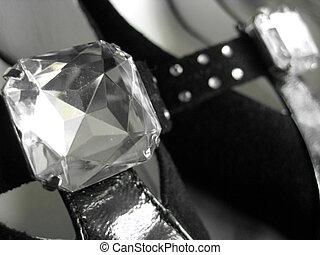Jewel on black velvet shoes