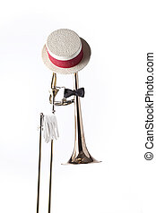 Trombone Hat gloves Isolated on white - A trombone dressed...