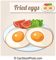 Detailed Icon. Fried eggs for breakfast.