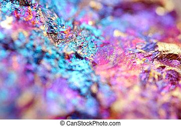 Bornite, también, conocido, como, Pavo real, mineral, es,...
