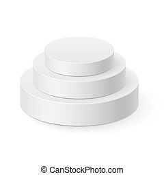 Cylinder pyramid - White cylinder pyramid isolated on white...