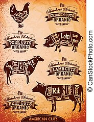 vector diagram cut carcasses chicken, pig, cow, lamb -...