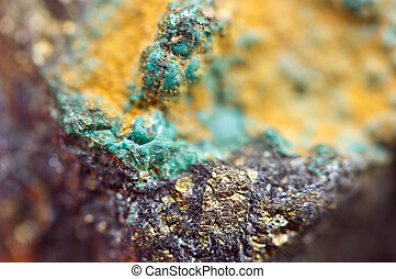 malaquita, es, Un, cobre, carbonato, hydroxide, mineral,